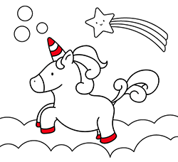 Coloring pages for kids: Jumping Unicorn