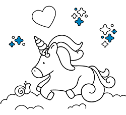 Online and printable unicorn drawings