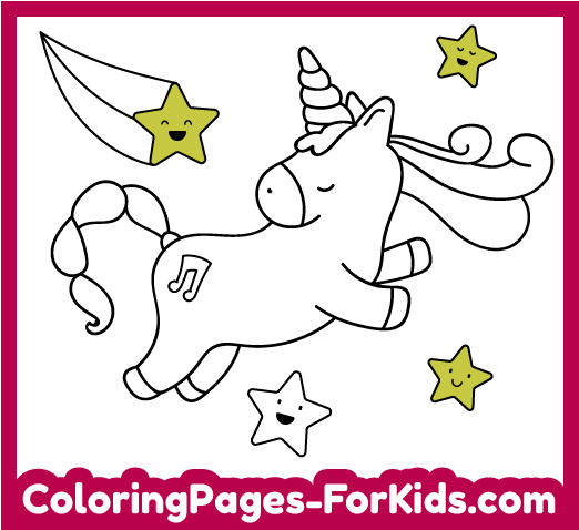 Online coloring pages for kids: Unicorn
